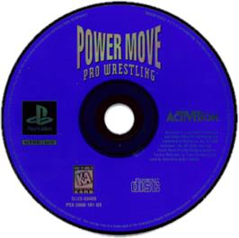 Artwork on the CD for Power Move Pro Wrestling on the Sony Playstation.