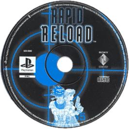 Artwork on the CD for Rapid Reload on the Sony Playstation.