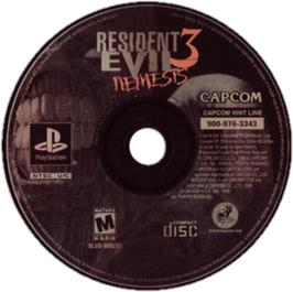 Artwork on the CD for Resident Evil 3: Nemesis on the Sony Playstation.