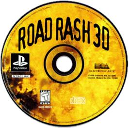 Artwork on the CD for Road Rash 3-D on the Sony Playstation.