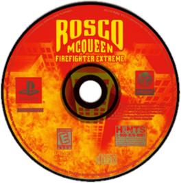 Artwork on the CD for Rosco McQueen Firefighter Extreme on the Sony Playstation.