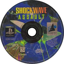 Artwork on the CD for Shockwave Assault on the Sony Playstation.