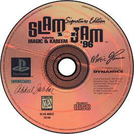 Artwork on the CD for Slam 'N Jam '96 featuring Magic and Kareem on the Sony Playstation.