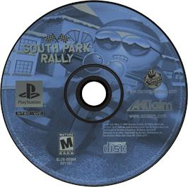 Artwork on the CD for South Park Rally on the Sony Playstation.