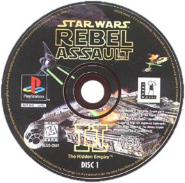 Artwork on the CD for Star Wars: Rebel Assault II - The Hidden Empire on the Sony Playstation.