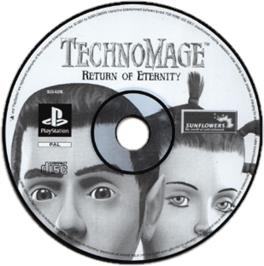 Artwork on the CD for TechnoMage: Return of Eternity on the Sony Playstation.