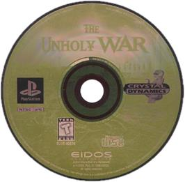 Artwork on the CD for The Unholy War on the Sony Playstation.