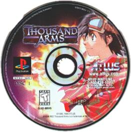Artwork on the CD for Thousand Arms on the Sony Playstation.