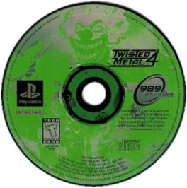 Artwork on the CD for Twisted Metal 4 on the Sony Playstation.