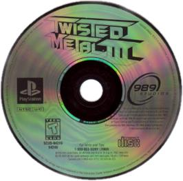 Artwork on the CD for Twisted Metal III on the Sony Playstation.