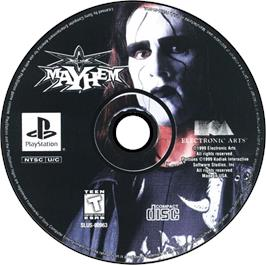 Artwork on the CD for WCW Mayhem on the Sony Playstation.