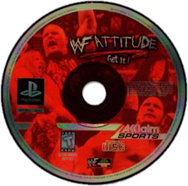 Artwork on the CD for WWF Attitude on the Sony Playstation.
