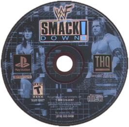 Artwork on the CD for WWF Smackdown! on the Sony Playstation.