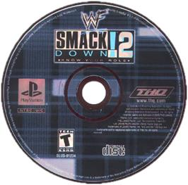Artwork on the CD for WWF Smackdown! 2: Know Your Role on the Sony Playstation.
