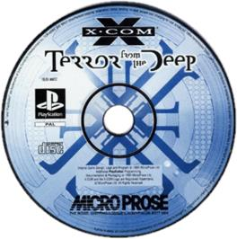 Artwork on the CD for X-COM: Terror from the Deep on the Sony Playstation.