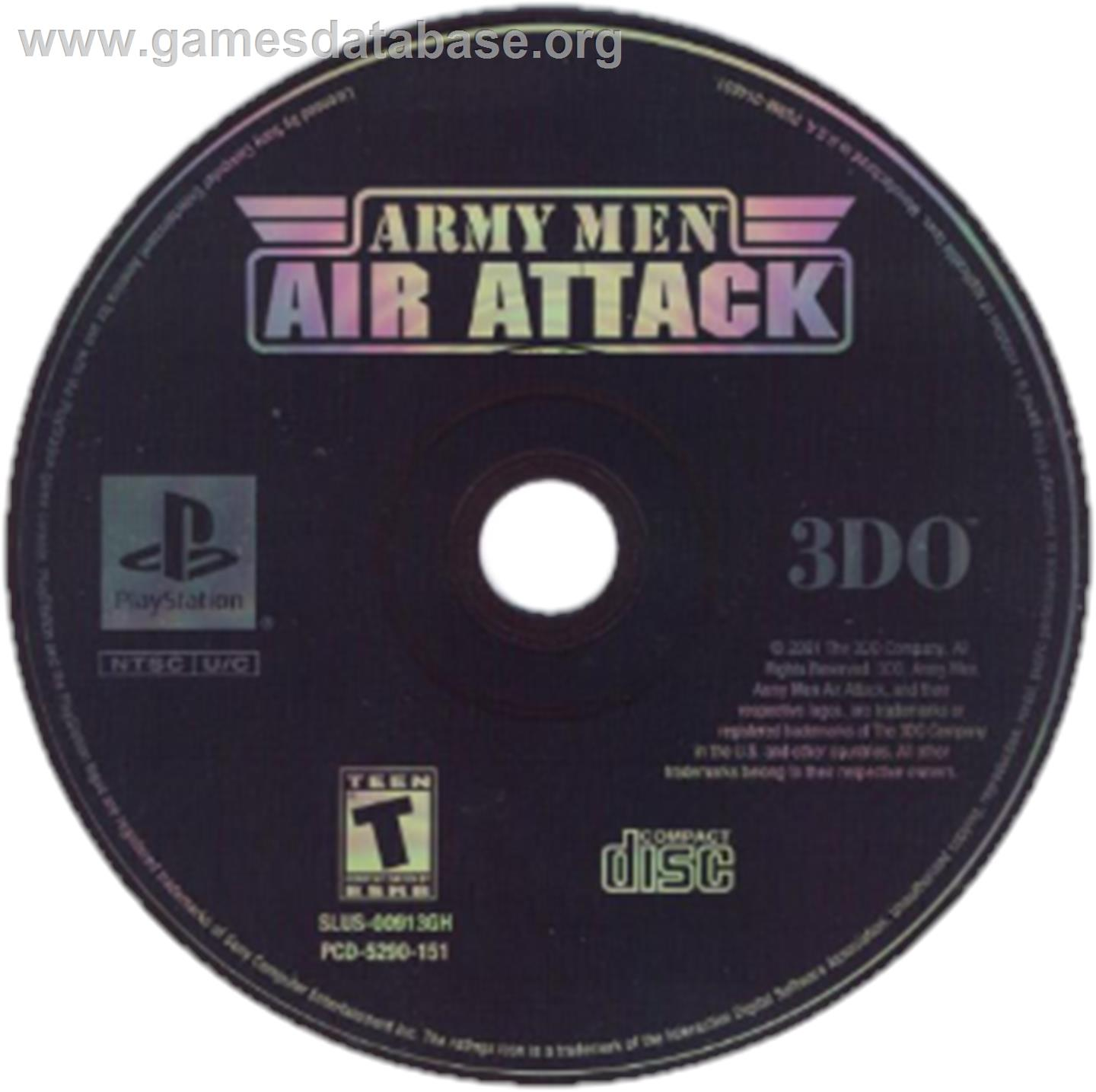 Artwork on the CD for Army Men: Air Attack on the Sony Playstation.