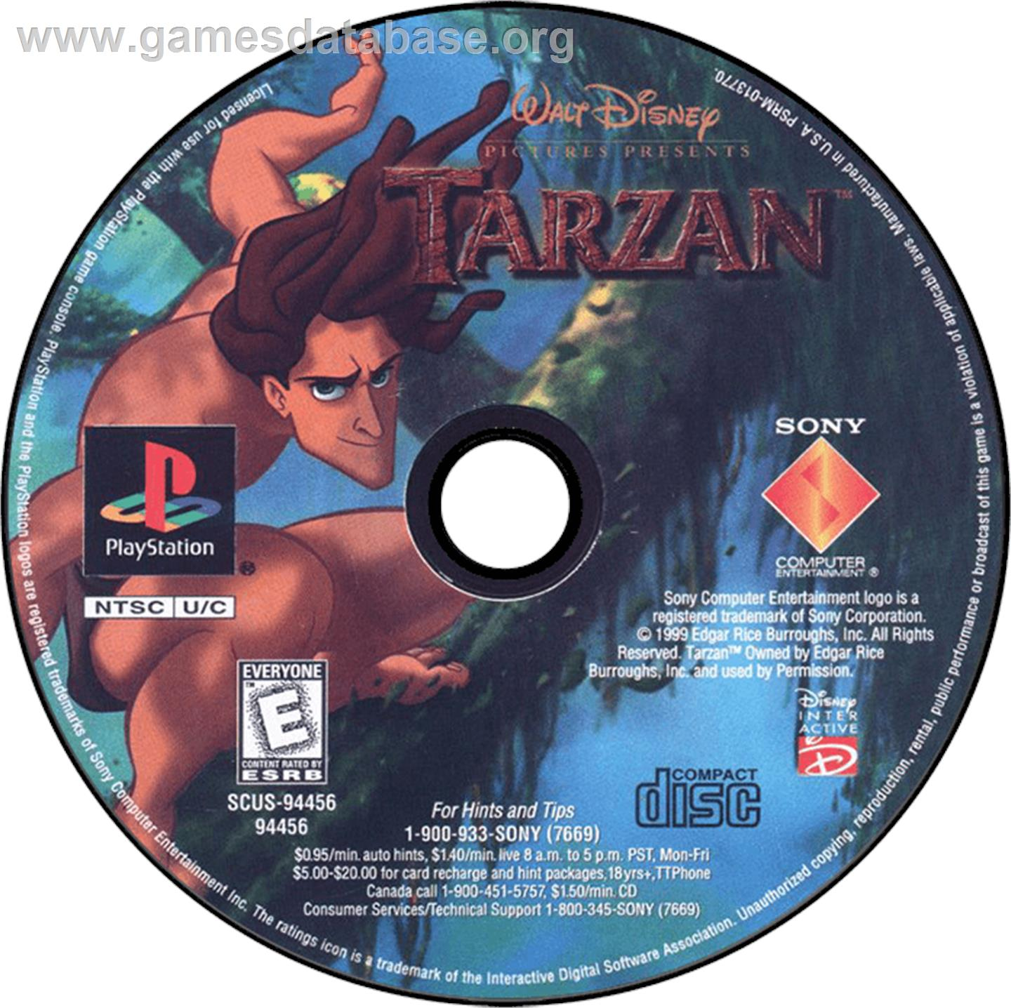 Disney's Tarzan - Sony Playstation - Artwork - CD