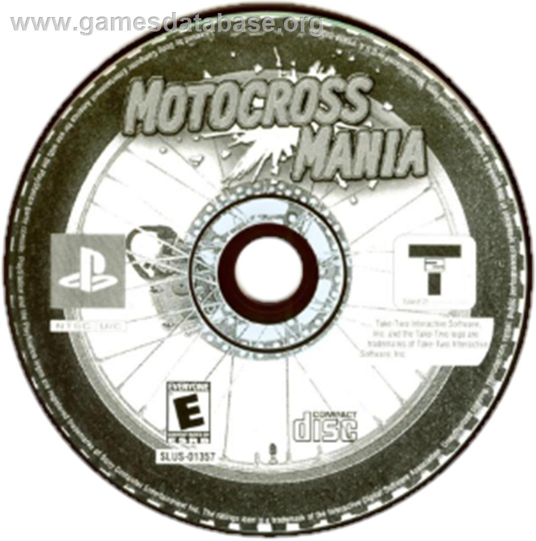 Artwork on the CD for Motocross Mania on the Sony Playstation.