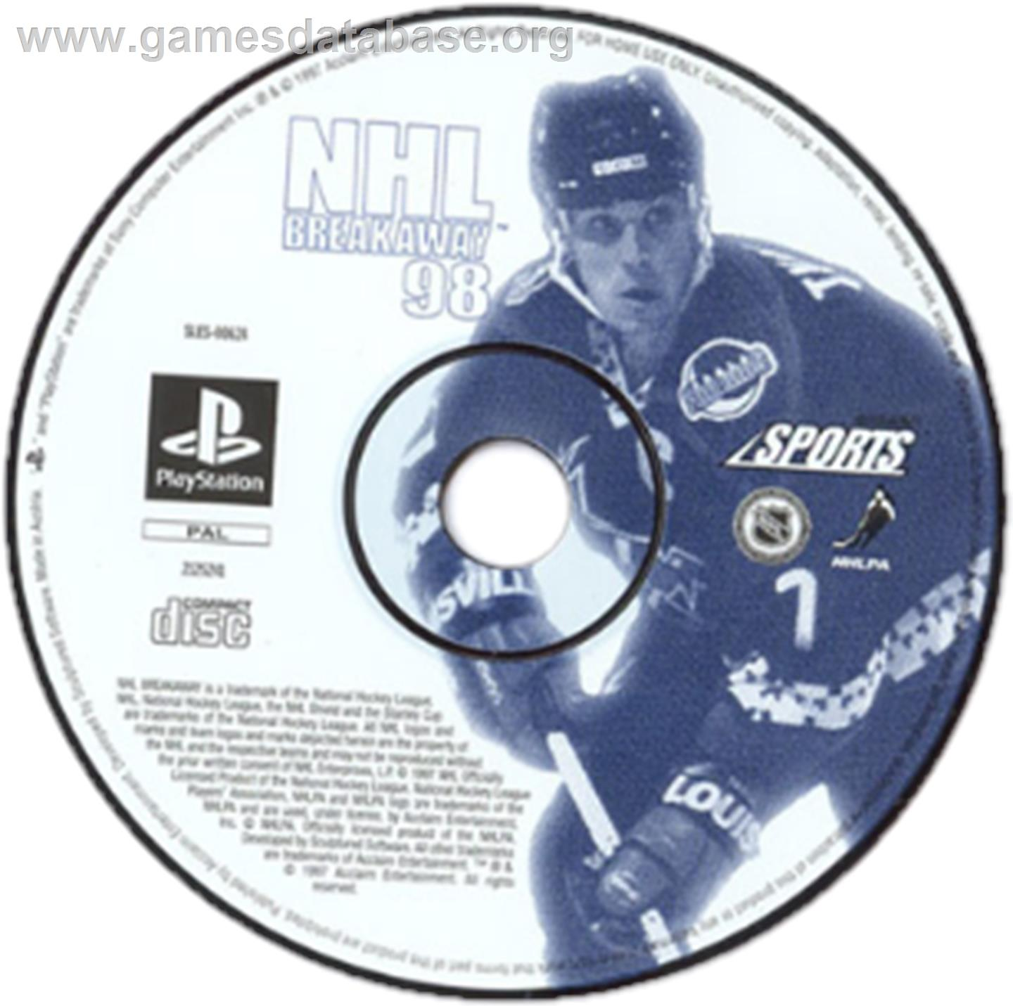 Artwork on the CD for NHL Breakaway 98 on the Sony Playstation.
