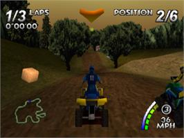 In game image of ATV: Quad Power Racing on the Sony Playstation.