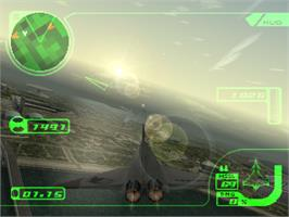 In game image of Ace Combat 3: Electrosphere on the Sony Playstation.