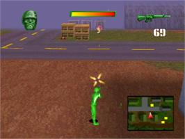 In game image of Army Men: Sarge's Heroes on the Sony Playstation.