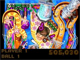 In game image of Austin Powers Pinball on the Sony Playstation.