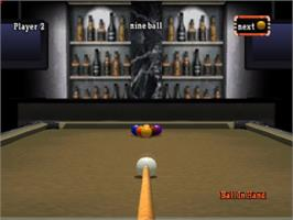 In game image of Backstreet Billiards on the Sony Playstation.