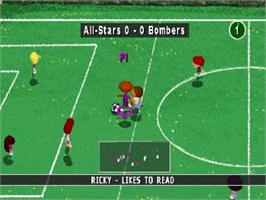 In game image of Backyard Soccer on the Sony Playstation.