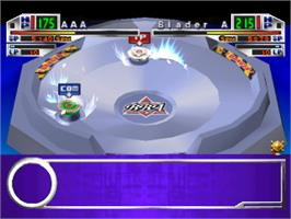 In game image of Beyblade on the Sony Playstation.