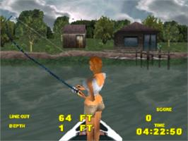 In game image of Big Bass Fishing on the Sony Playstation.