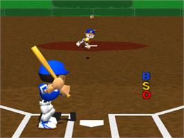 In game image of Big League Slugger Baseball on the Sony Playstation.