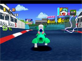 In game image of Bomberman Fantasy Race on the Sony Playstation.