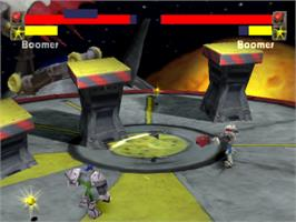 In game image of BoomBots on the Sony Playstation.