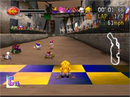 In game image of Chocobo Racing on the Sony Playstation.