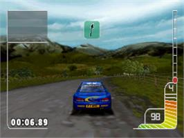 In game image of Colin McRae Rally on the Sony Playstation.