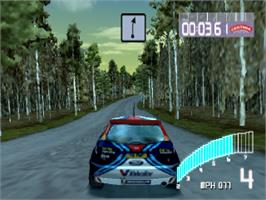 In game image of Colin McRae Rally 2.0 on the Sony Playstation.