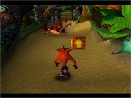 In game image of Crash Bandicoot on the Sony Playstation.