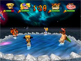 In game image of Crash Bash on the Sony Playstation.