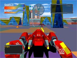 In game image of Cyber Sled on the Sony Playstation.