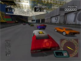 In game image of Demolition Racer on the Sony Playstation.