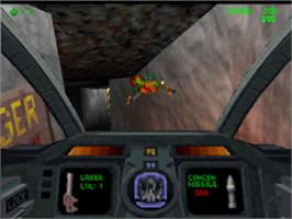 In game image of Descent on the Sony Playstation.