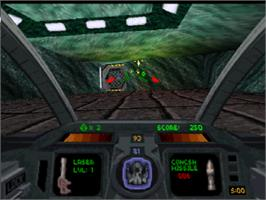 In game image of Descent Maximum on the Sony Playstation.
