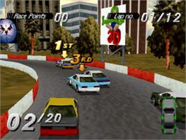 In game image of Destruction Derby on the Sony Playstation.