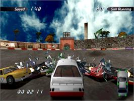 In game image of Destruction Derby 2 on the Sony Playstation.