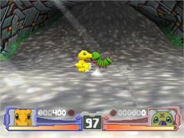 In game image of Digimon Rumble Arena on the Sony Playstation.