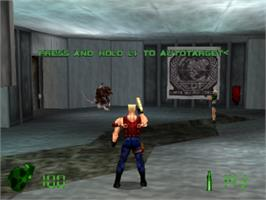 In game image of Duke Nukem: Land of the Babes on the Sony Playstation.