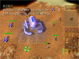 In game image of Dune 2000 on the Sony Playstation.