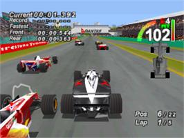 In game image of F1 World Grand Prix on the Sony Playstation.