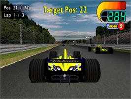 In game image of F1 World Grand Prix 2000 on the Sony Playstation.